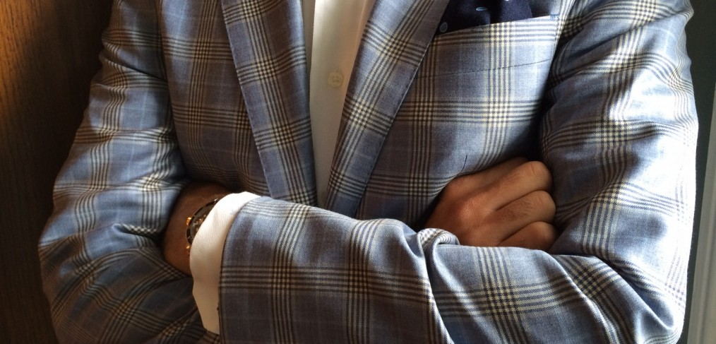 Blue window pane sport coat