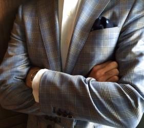 Blue window pane sport coat
