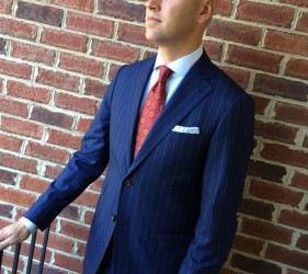Custom blue pinstriped suit by Jmac's Clothiers.