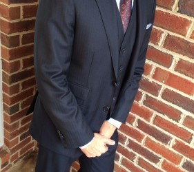 Custom navy three-piece suit by Jmac's Clothiers