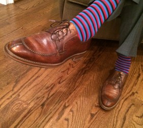 Striped sock and deer skin shoes from Jmac's Clothiers.