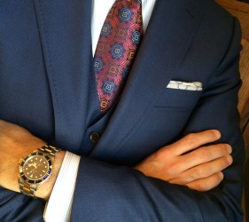 Medium blue suit by Ariston with bold tie